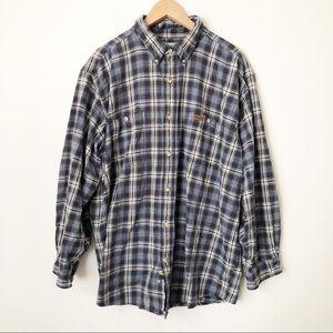 Vintage Carhartt Blue Plaid Flannel Shirt 2XL